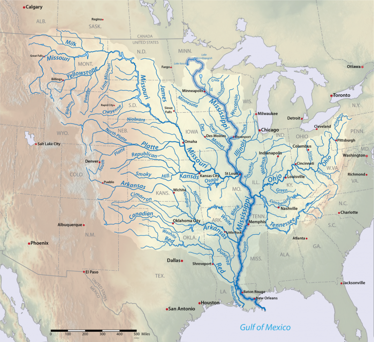 Map of the Midwest Rivers